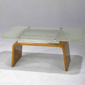 Italian art deco cocktail table in burl and nickled steel with original frosted plate glass top 17 12 x 39 14 x 19 12