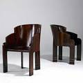 Art deco pair of macassar and brass armchairs with satinwood details unmarked 34 x 22 x 27