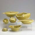 Russel wright yellow dinneware set includes 13 10 dinner plates 6 6 saladcake plates 6 teacups and saucers 11 expresso cups and saucers water pitcher 3 gravy boats 2 open bowls
