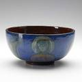 Pillin footed bowl in dark blue glaze painted with animal portraits signed 4 12 x 9 dia