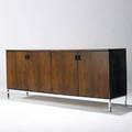 Founders fine rosewood four door credenza chrome and enameled hardware unmarked 30 12 x 72 x 19