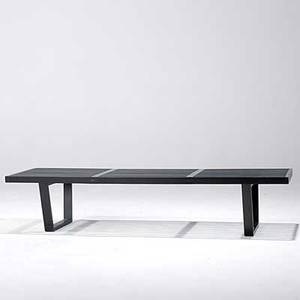 George nelson herman miller ebonized slat bench unmarked 14 x 68 x 18 12