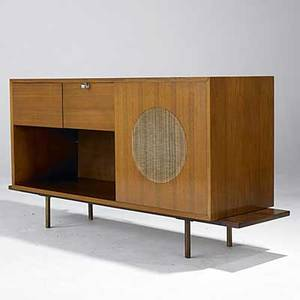George nelson herman miller stereo cabinet on custom walnut base with bronze legs unmarked 32 x 63 x 19 12