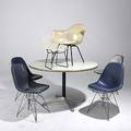 Charles and ray eames herman miller harry bertoia knoll four eiffel tower chairs one transitional armshell on lounge x base one aluminium group dining table with laminate top and bertoia childs