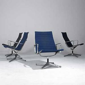 Charles and ray eames herman miller set of four aluminum group lounge chairs with arms embossed signatures 35 x 25 x 27