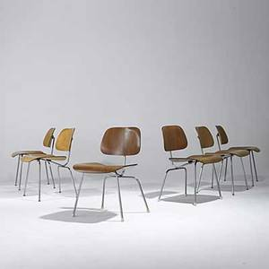 Charles and ray eames herman miller group of six dcms four in ash two in walnut unmarked 30 x 20 x 21