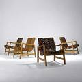 Jens risom knoll set of four birch and leather armchairs 1950s unmarked 29 12 x 24 x 31