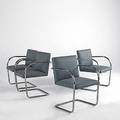Mies van der rohe knoll set of four brno chairs knoll fabric labels 32 x 22 x 24