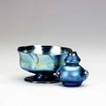 Tiffany studios two blue favrile glass vessels a sherbert and a miniature both etched lc tiffanyfavrile sherbert 4587e vase 104906n 2 34 x 5 and 2 34 x 2 34