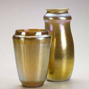 Tiffany studios two gold favrile glass vases both etched lc tiffany favrile one 9013b 11 x 4 34 and 8 x 5 34
