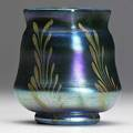 Tiffany studios blue favrile glass cabinet vase with gold foliate decoration etched 06708 3 14 x 2 34