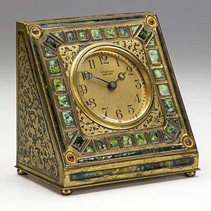 Tiffany studios parcel gilt bronze and enameled table top clock base stamped louis c tiffany furnaces inc 360 face stamped tiffany  co new york 5 34 x 5 12 x 3 34