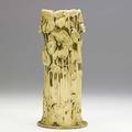 Tiffany studios vase with poppies old ivory glaze restoration to one flower at rim and drill hole etched tiffany favrile 0216 10 14 x 4 12