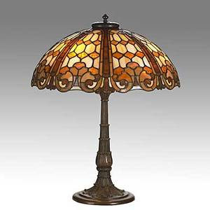Duffner  kimberly leaded slag glass and patinated bronze table lamp with curls and treillises unmarked 24 x 20