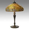 Wilkinson tall leaded slag glass and parcel gilt bronze table lamp 275 in medallion on base shade unmarked 28 x 18 14