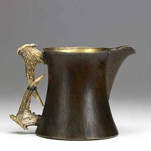 Joseph heinrichs finely hammered copper silver and antler pitcher stamped brass and silver 7 12 x 11
