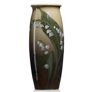 Lenore asbury rookwood iris glaze vase with lily of the valley 1904 uncrazed 14 stilt pull to edge flame markiv808wla 7 12 x 3 14