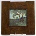 Van briggle cuenca landscape tile minor fleck to front and to one corner framed unsigned 6 sq