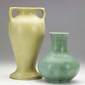 Clifton two vases one in crystal patina glaze 12 flat chip to footring of shorter shorter marked clifton 1906 150 8 and 11 12