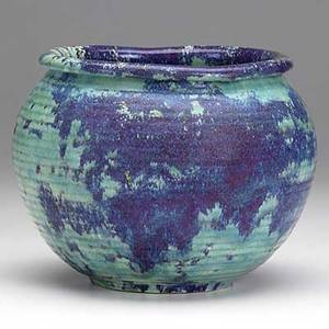 Adelaide robineau porcelain vessel turquoise and purple glaze 1922 carved medallion and date 6 x 7 12