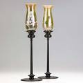 Jarvie pair of beta bronze candlesticks fitted with art glass shades unmarked 20 x 5 34