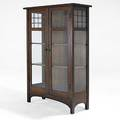 L  jg stickley leadedglass china cabinet one fixed shelf two adjustable the work of  decal 62 x 44 x 16