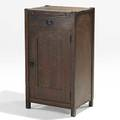 Gustav stickley liquor cabinet pullout copper lined shelf and revolving bottle holder red decal 39 12 x 21 34 x 16 14