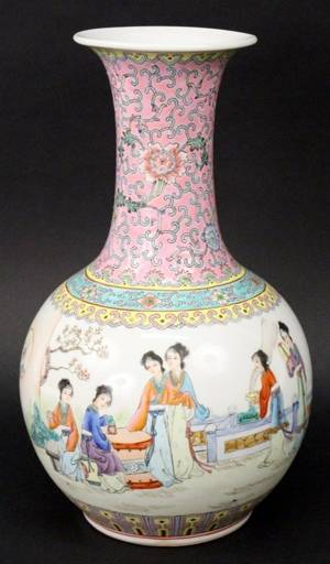 Chinese Figural Baluster Famille Rose Vase