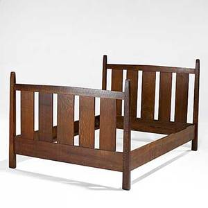 Gustav stickley slatted double bed no 923 paper label and branded mark 48 x 57 x 79 interior 54 12 x 76