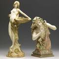 Ernst wahliss two amphora porcelain figurines restoration to both see cond rpt taller has gray royal vienna wahliss medallion 2638 other with red turn vienna ew stamp 4515 12 12 and 17