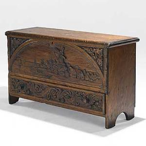 Cs hall roycroft early american pine blanket chest subsequently carved 1930 publication a similar chest in pictured p 71 of head heart and hand elbert hubbard and the roycrofters marie v