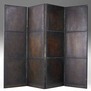 Arts  crafts four panel screen with tackedon leather unmarked each panel 72 x 22