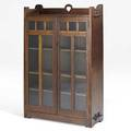 Stickley brothers doubledoor bookcase three adjustable shelves one fixed unmarked 56 14 x 36 x 12