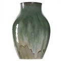 Fulper unique tall molded vase fine frothy flemington green flambe restoration around rim raised vertical racetrack mark 12 14 x 8
