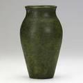 Leon volkmar baluster vase matte green and gunmetal speckled glaze incised v 8 14 x 5 14