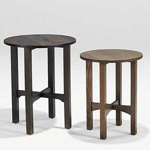 Gustav stickley two stands with circular tops paper label to larger one smaller unmarked 29 12 x 24 25 34 x 20