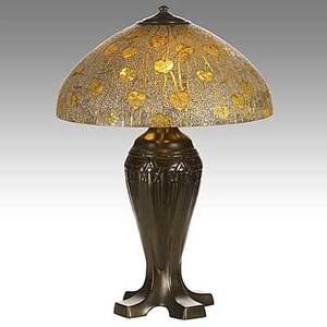 Handel rare obverse and reversepainted glass and patinated bronze table lamp heart and vine pattern note a strong arts and crafts design shade stamped handel lamps and signed 7746 handel rr