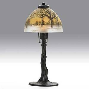 Handel bronze and chipped glass boudoir lamp obverse and reversepainted shade on tree trunk base shade signed handel 5624 base felted 15 x 7