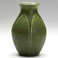 Ruth erickson grueby matte green vase with leaves restored chip to rim circular stamp re 6 12 x 4 14