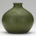 Grueby unusual matte green vase with carved and recessed leaves grueby faience stamp 57 and illegible artist cipher 7 12 x 7 12