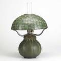 Marie seaman grueby tiffany studios rare table lamp with oil font and geometric shade complete with glass chimney base stamped grueby pottery boston usa 256 ms shade and font stamped tiffany stu
