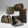 Roycroft six pairs of hammered copper bookends some with brass wash provenance roycroft inn east aurora ny all marked