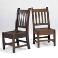Roycroft pair of slatted sidechairs tackedon hard leather seats provenance roycroft inn and chapel east aurora ny one stamped ro25 other c025 41 x 19 x 18 12