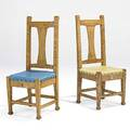 Roycroft rare pair of birds eye maple tallback chairs provenance roycroft inn east aurora ny carved orb and cross mark stamped r030 original upholstery paster 43 12 x 17 x 16 12