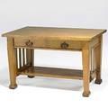 Roycroft rare birds eye maple twodrawer library table provenance roycroft inn east aurora ny stamped r0818 30 x 48 x 30 12