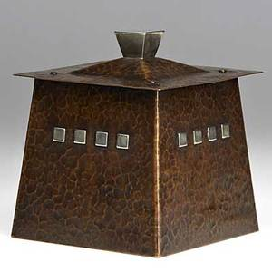 Karl kipp and dard hunter roycroft rare hammered copper and silver humidor literature kevin mcconnell more roycroft art metal 1995 cover orb and cross mark 6 x 5 sq