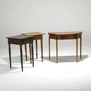 Three tables two country end tables together with a mahogany card table with serpentine front all 19th20th c card table 29 x 35 14 x 17