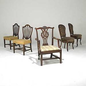 Pair of federal side chairs mahogany ca 1800 together with a mahogany armchair and pair of victorian side chairs in walnut 19th c tallest 39 12 x 28 x 23