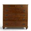 Sheraton style two over four drawer chest in birdseye maple 45 x 44 12 x 20