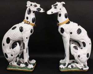 Pair of Large Italian Ceramic Dogs